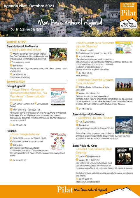 Agenda fêtes et manifestations Pilat octobre 2021